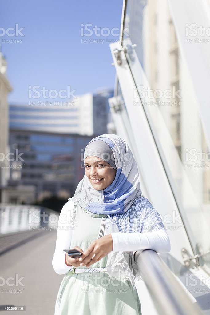 Young muslim women looking at the camera, Cape Town. royalty-free stock photo