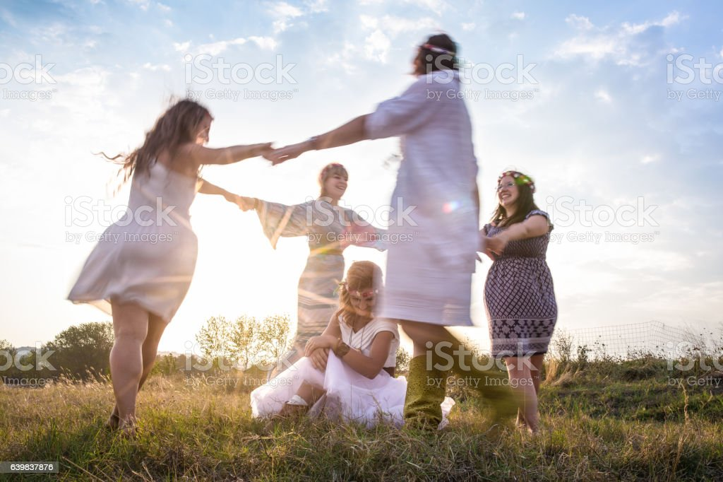 Young mystical women stock photo