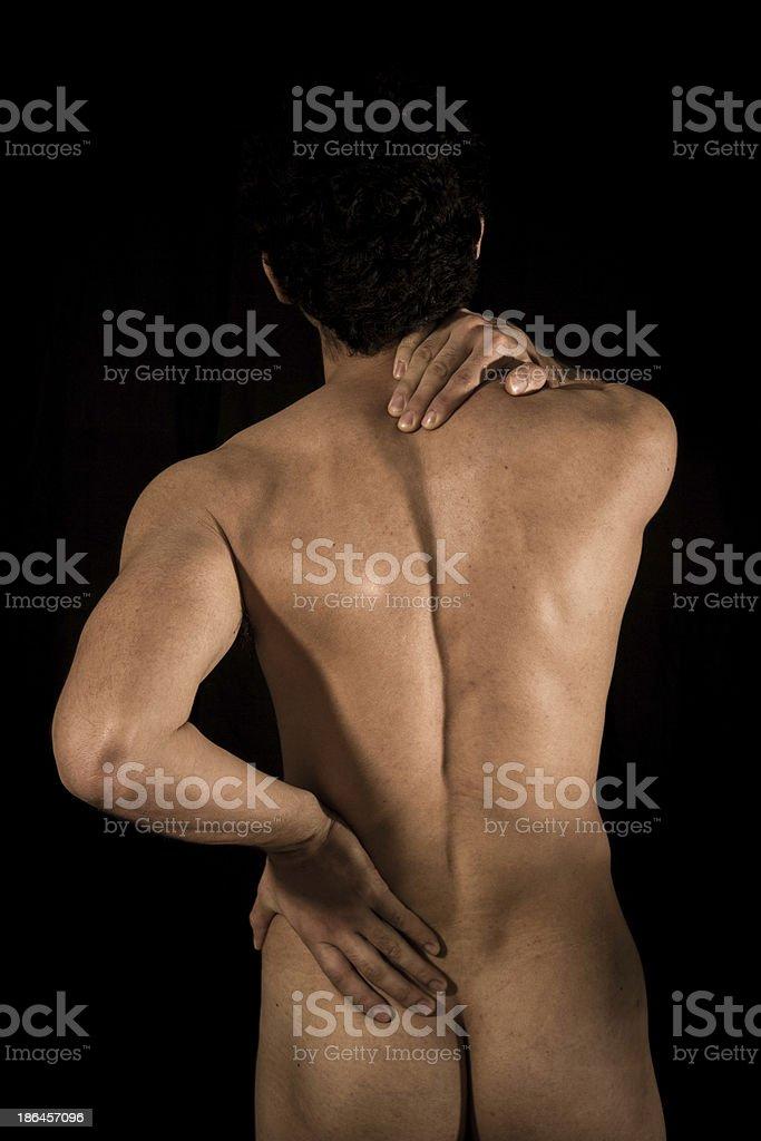 Junger Nackter Mann Mit Nacken Und Schulterschmerzen Stock ...