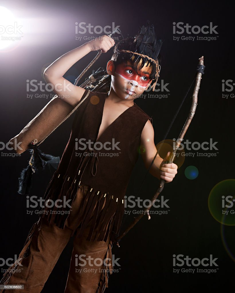 Young Native American Warrior stock photo