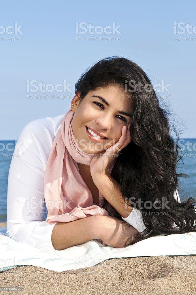Young native american woman at beach royalty-free stock photo