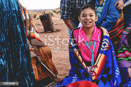 Native American teenager smiling for the camera in her native costume