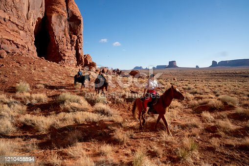 A brother and his two sisters riding their horses on their land on the tribal park