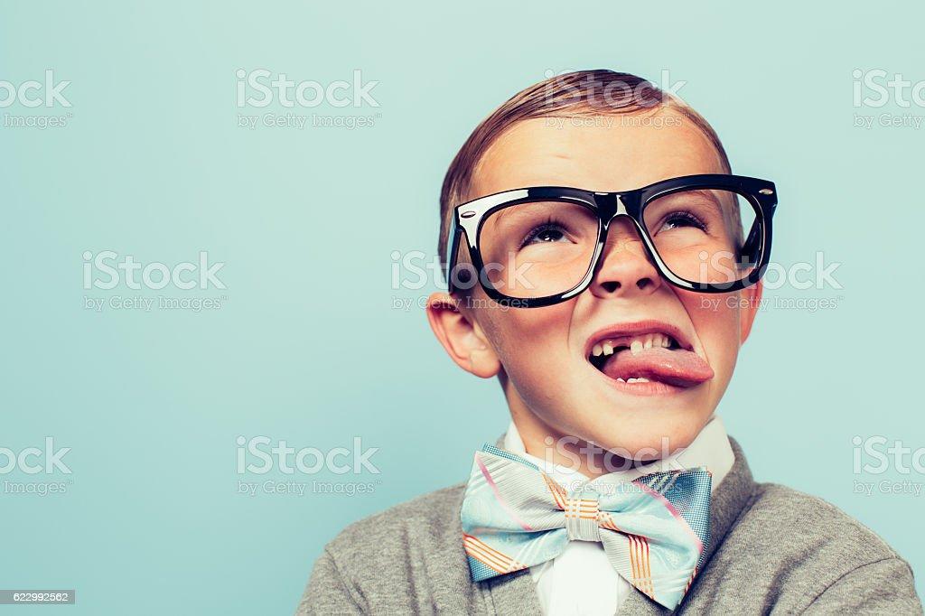 Young Nerd Boy Makes Face stock photo