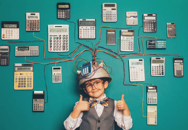Young Nerd Boy with Brilliant Invention stock photo