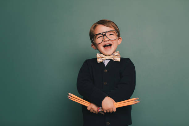Young Nerd Boy with Happy Smile stock photo
