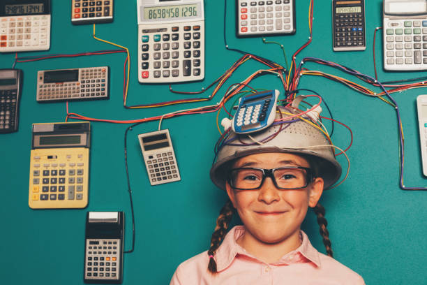Young Nerd Girl with Calculator Invention stock photo