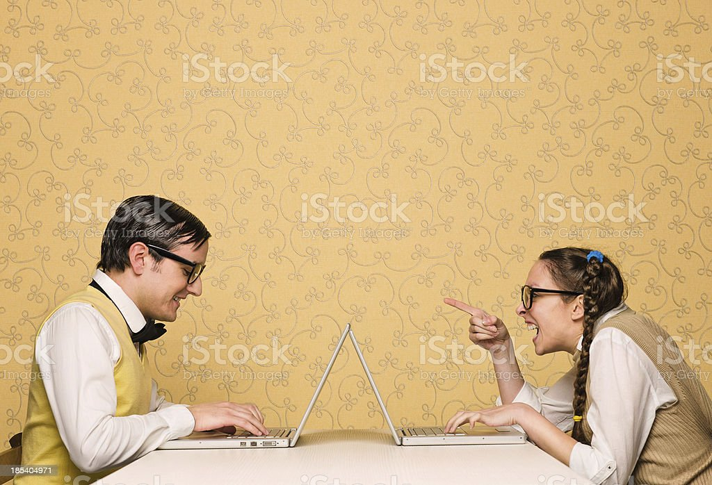 Young nerds chatting royalty-free stock photo