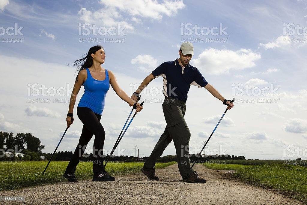 Young Nordic Walkers royalty-free stock photo