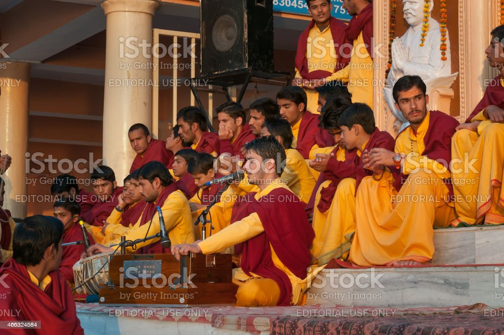 Young novices on Ganga Aarti ceremony in Parmarth Niketan ashram stock photo