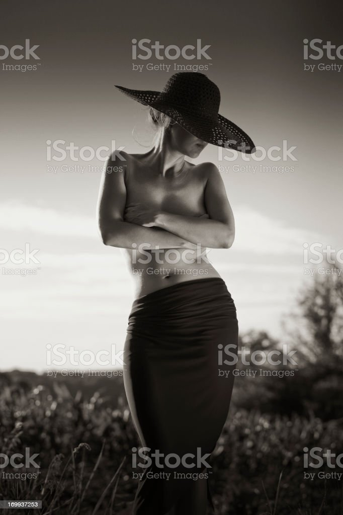 young nude woman posing in nature royalty-free stock photo