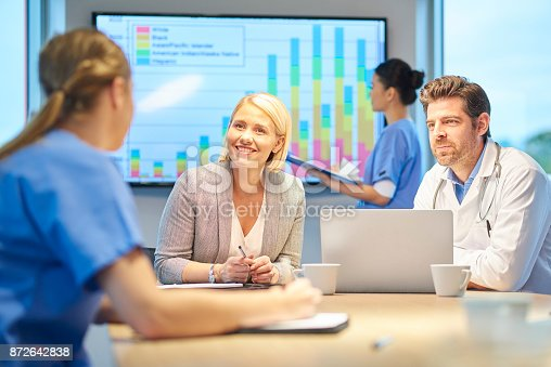 istock young nurse in staff appraisal 872642838