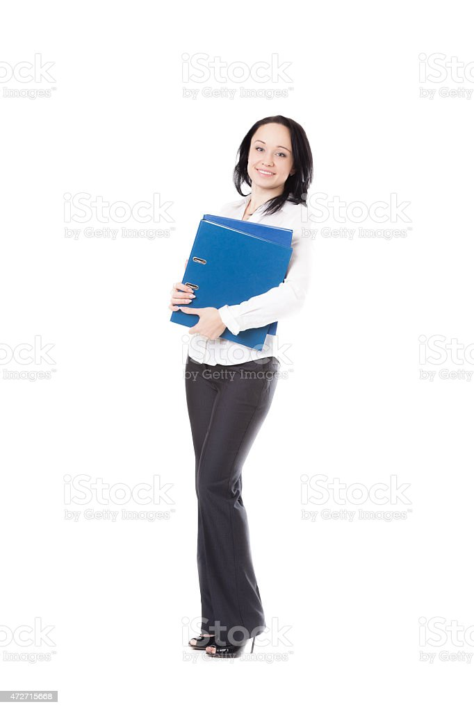 Young office woman holding document folders stock photo