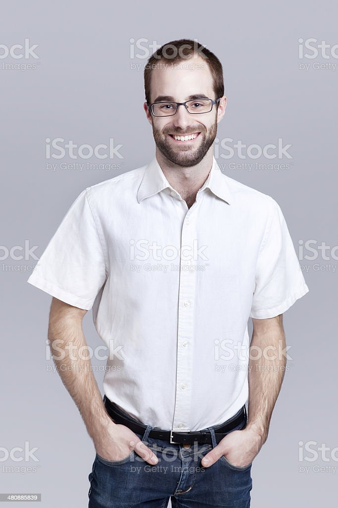 Young office worker with white short-sleeved shirt stock photo