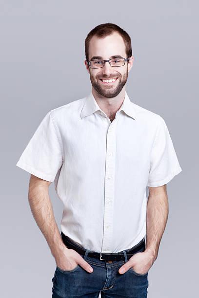 young office worker with white short-sleeved shirt - korte mouwen stockfoto's en -beelden