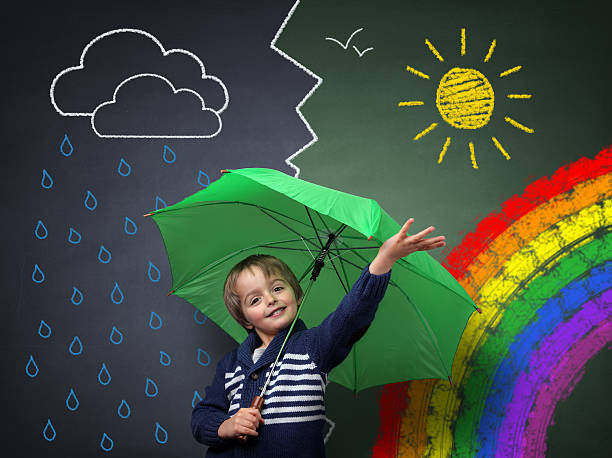 young optimist - a change in the weather - regen zon stockfoto's en -beelden