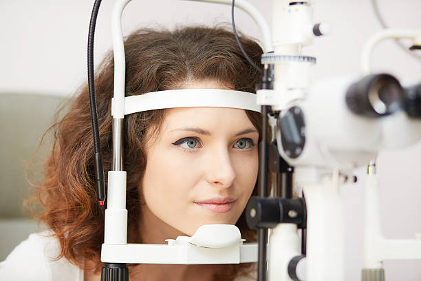 young optometrist stock photo