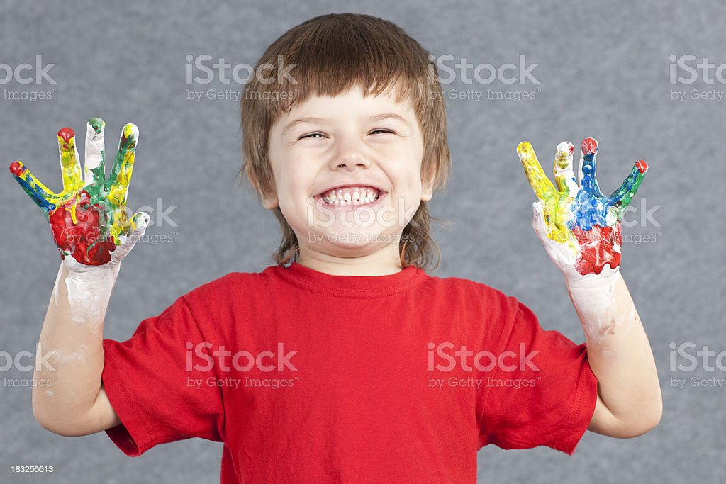 Young painter boy. stock photo