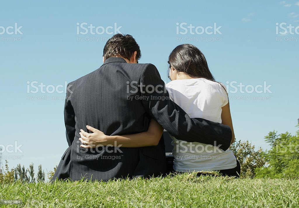 Young pair in park royalty-free stock photo