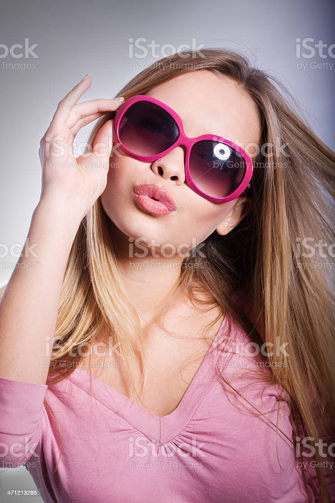 Young party girl with sunglasses royalty-free stock photo