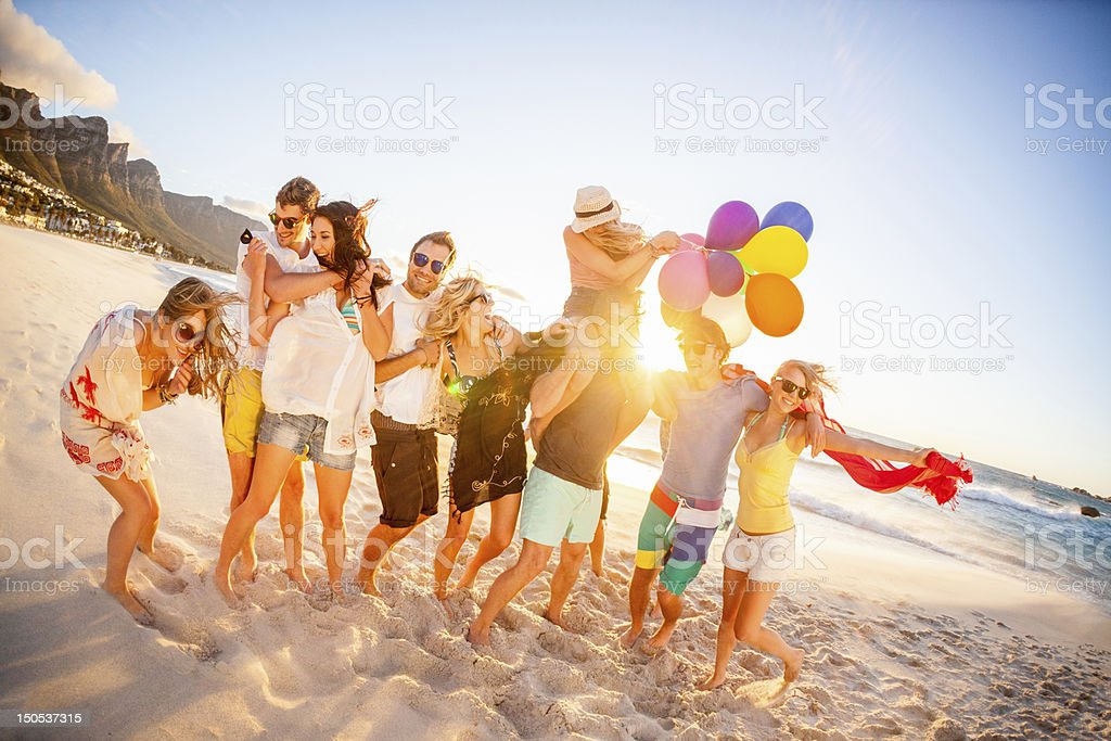 Young Party People having fun at the beach stok fotoğrafı