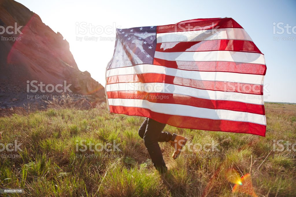 Young Patriot Celebrating USA Freedom stock photo