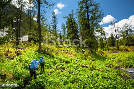 istock Young people are hiking in highlands of Altai mountains, Russia 618856208