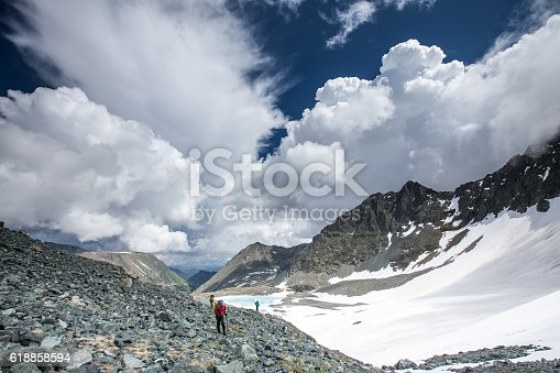 istock Young people are hiking in highlands of Altai mountains, Russia 618858594