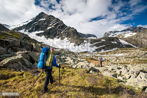 istock Young people are hiking in highlands of Altai mountains, Russia 638255200