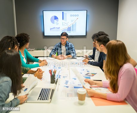 1007383644 istock photo Young people at a sales meeting looking at their sales statistics of the year smiling 875430066