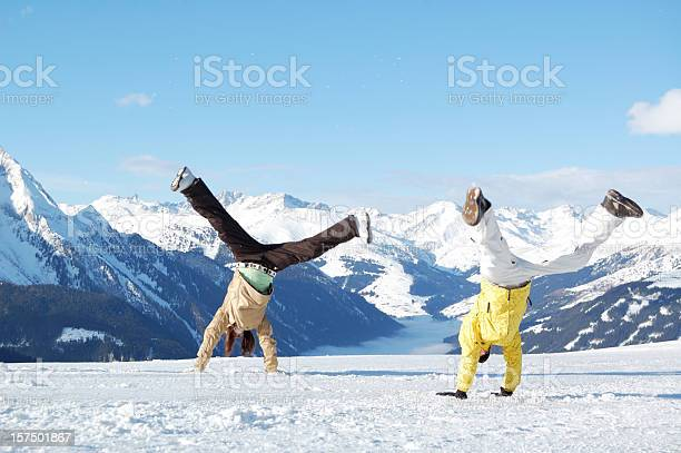 Young People At Ski Resort Stock Photo - Download Image Now