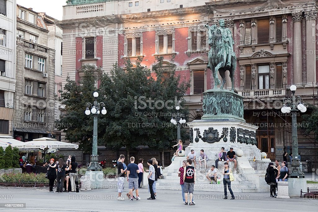 Young people at the republic square in Belgrade stock photo