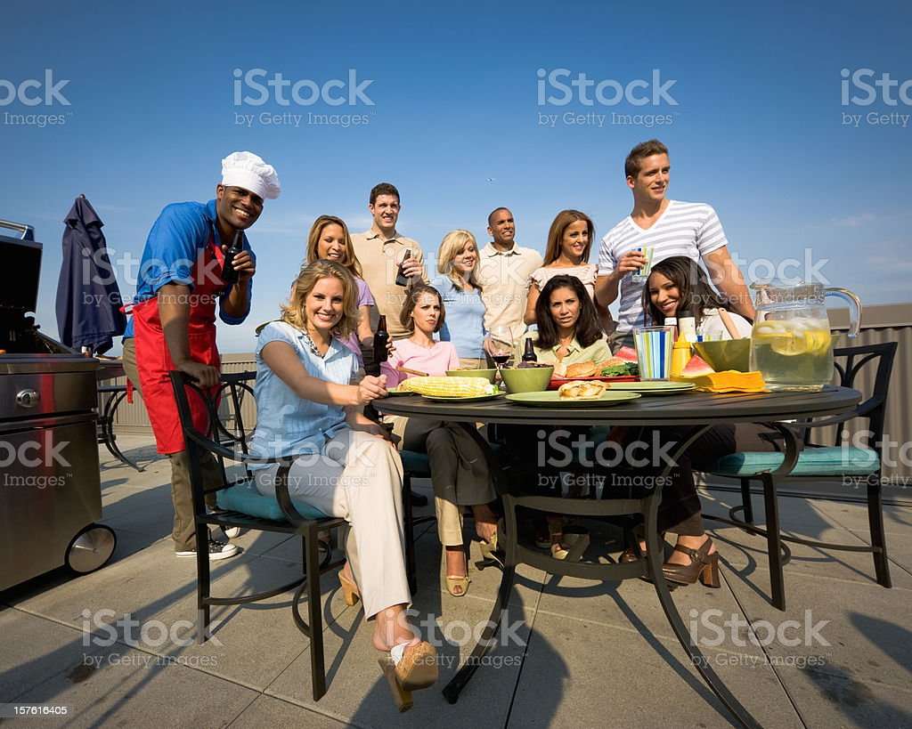 Young People BBQ Party Together royalty-free stock photo
