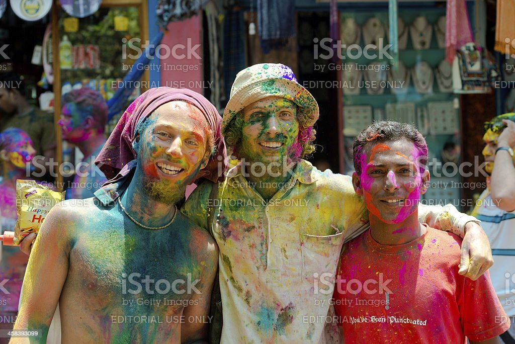Young people celebrate Holi festival in Arambol royalty-free stock photo