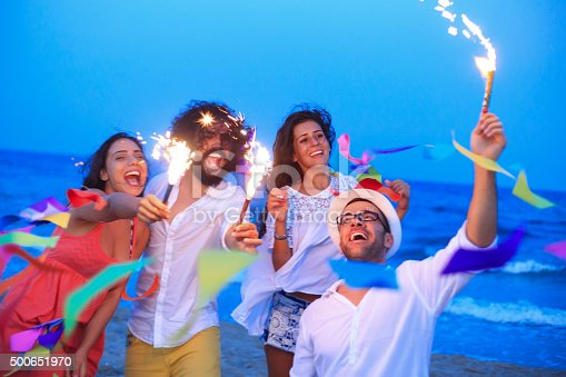 471113366istockphoto Young people celebrate on the beach 500651970
