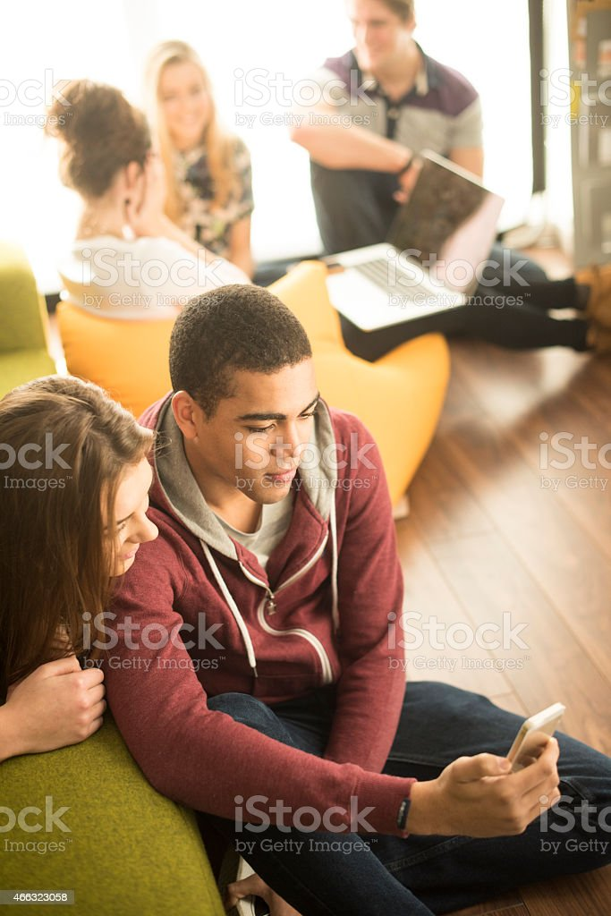 A group of young men and women sitting in a lounge using various...