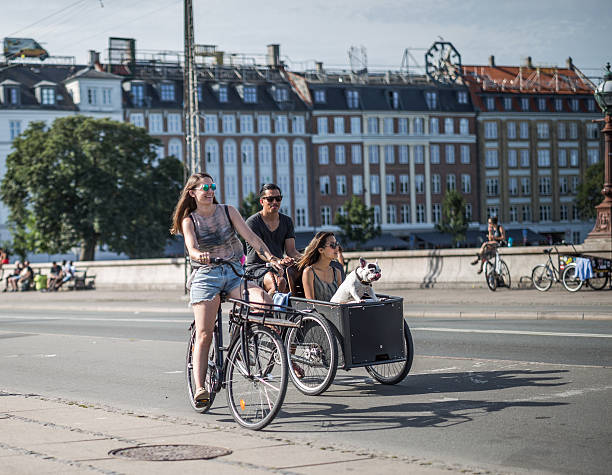 Young people cycling on Dronning Louises Bro, Copenhagen, Denmark stock photo