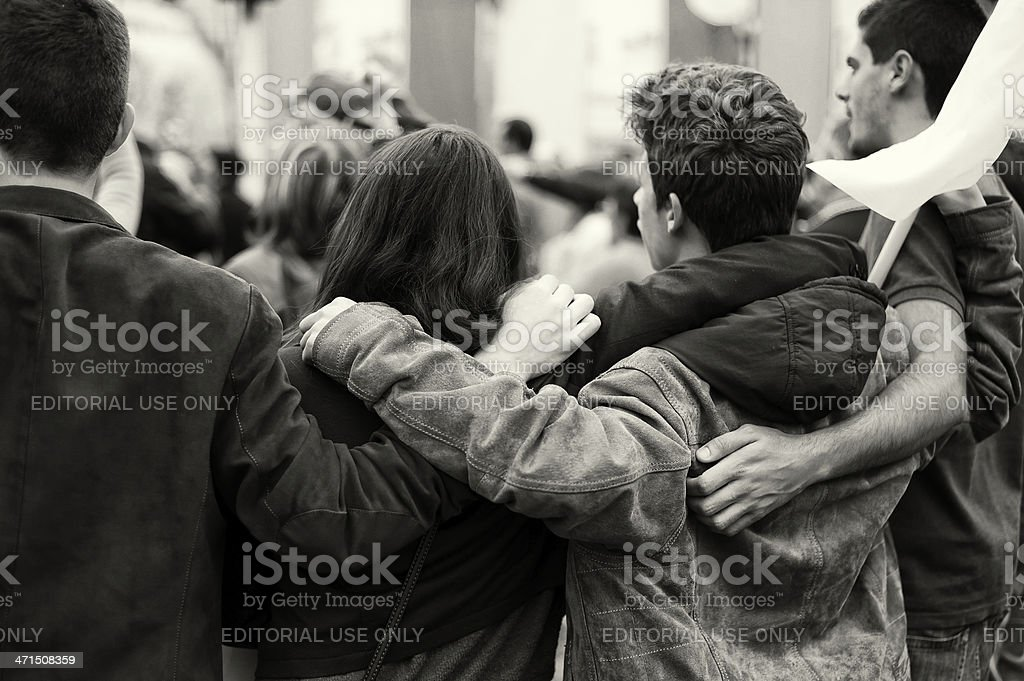 Young People Embracing stock photo