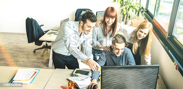 1090214584 istock photo Young people employee coworkers at startup business meeting in urban coworking space studio - Human resources concept at working time - Start up entrepreneurs at office place - Bright vivid filter 1093103506