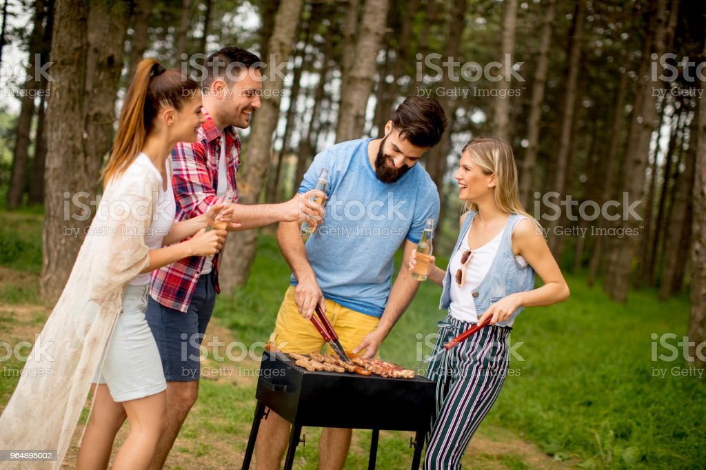 Young people enjoying barbecue party in park royalty-free stock photo