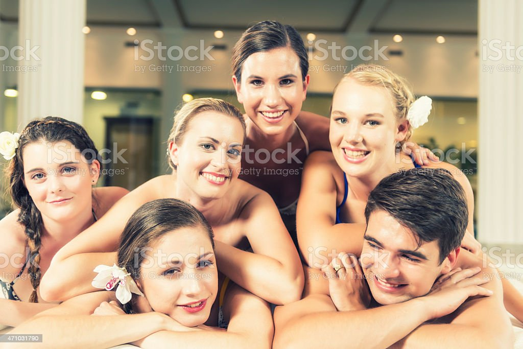 Young people enjoying in health spa stock photo