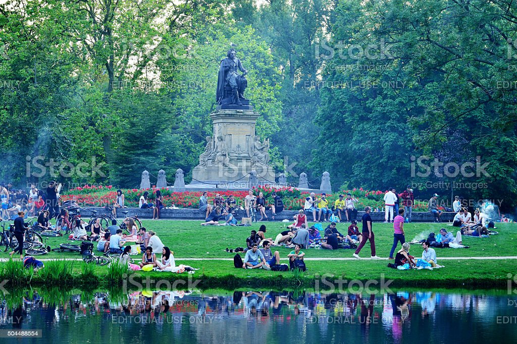 Young people have a barbecue in the Vondelpark stock photo