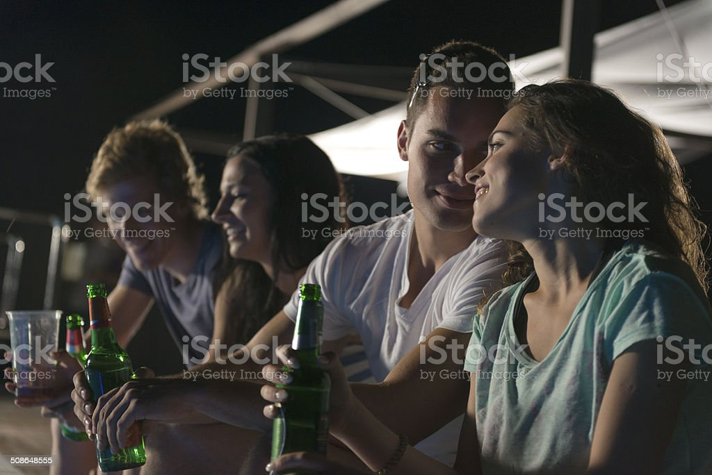 Young People Having a Party, Night, Summer Vacations, Mediteranean foto
