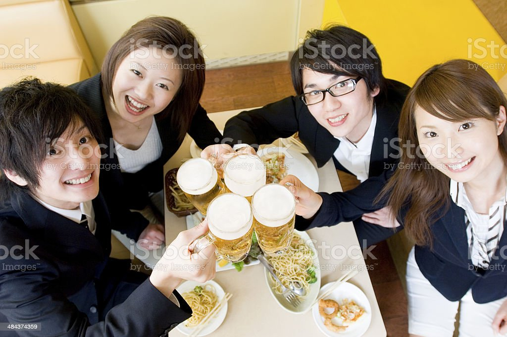 Young people having a toast royalty-free stock photo