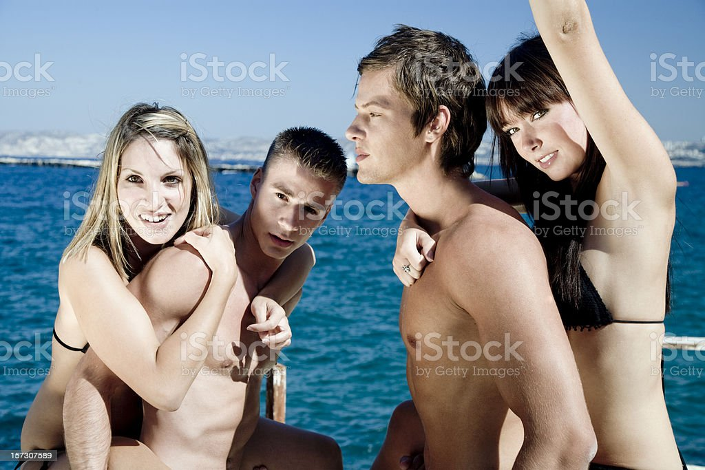 young people having fun at the beach royalty-free stock photo