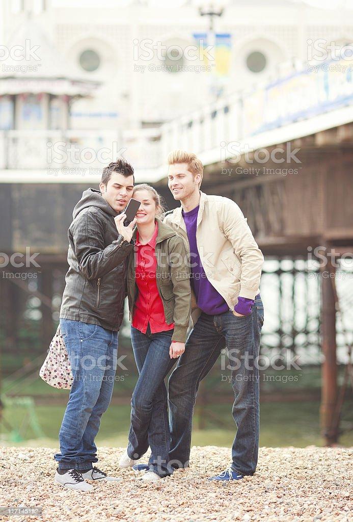young people having fun in Brighton Beach stock photo