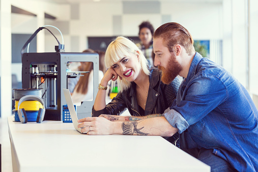 Young People In 3d Printer Office Stock Photo - Download Image Now