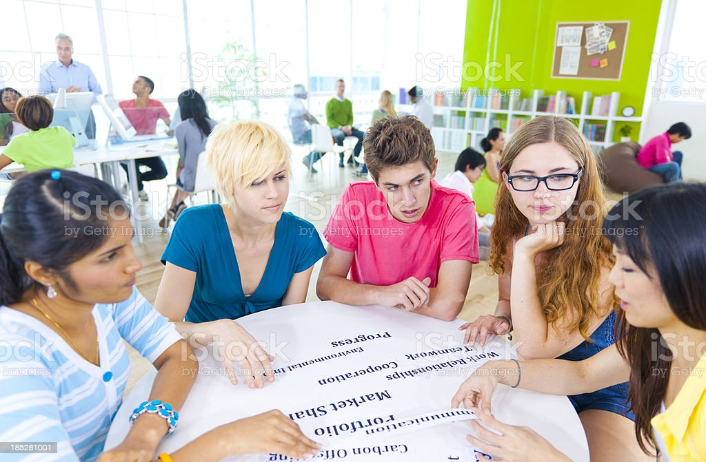 Young people in a classroom study group royalty-free stock photo