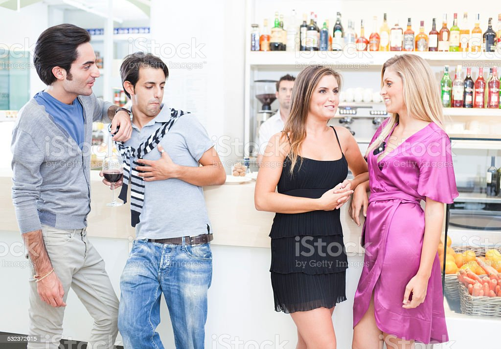 Young people in bar stock photo