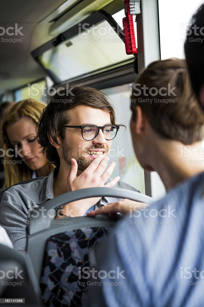 Young people in bus stock photo